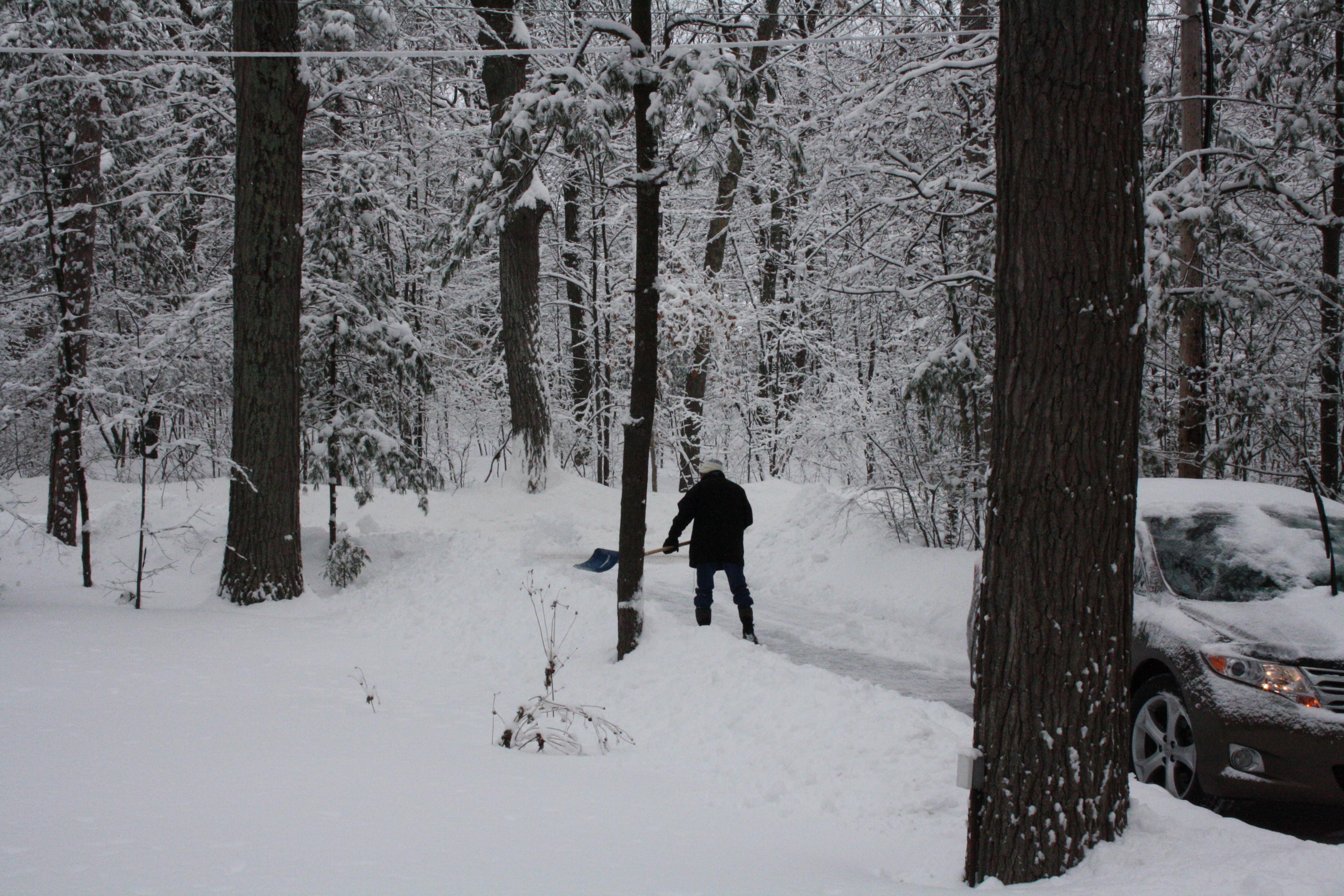 Shovelling the cottage driveway