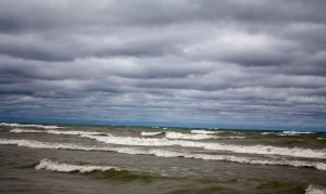 Lake Huron's angry waves at our beach